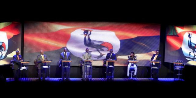 Uganda's presidential candidates take part in a presidential debate in Uganda's capital Kampala January 15, 2016, ahead of the Feb. 18 presidential election. Incumbent President Yoweri Museveni did not attend the debate. REUTERS/James Akena